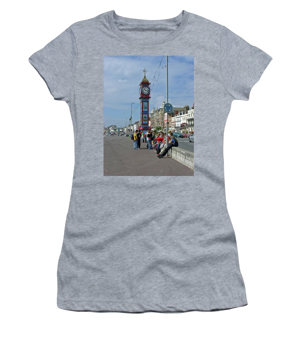 Street Lamp Women's T-Shirt (Athletic Fit) featuring the photograph Weymouth Esplanade by Rod Johnson