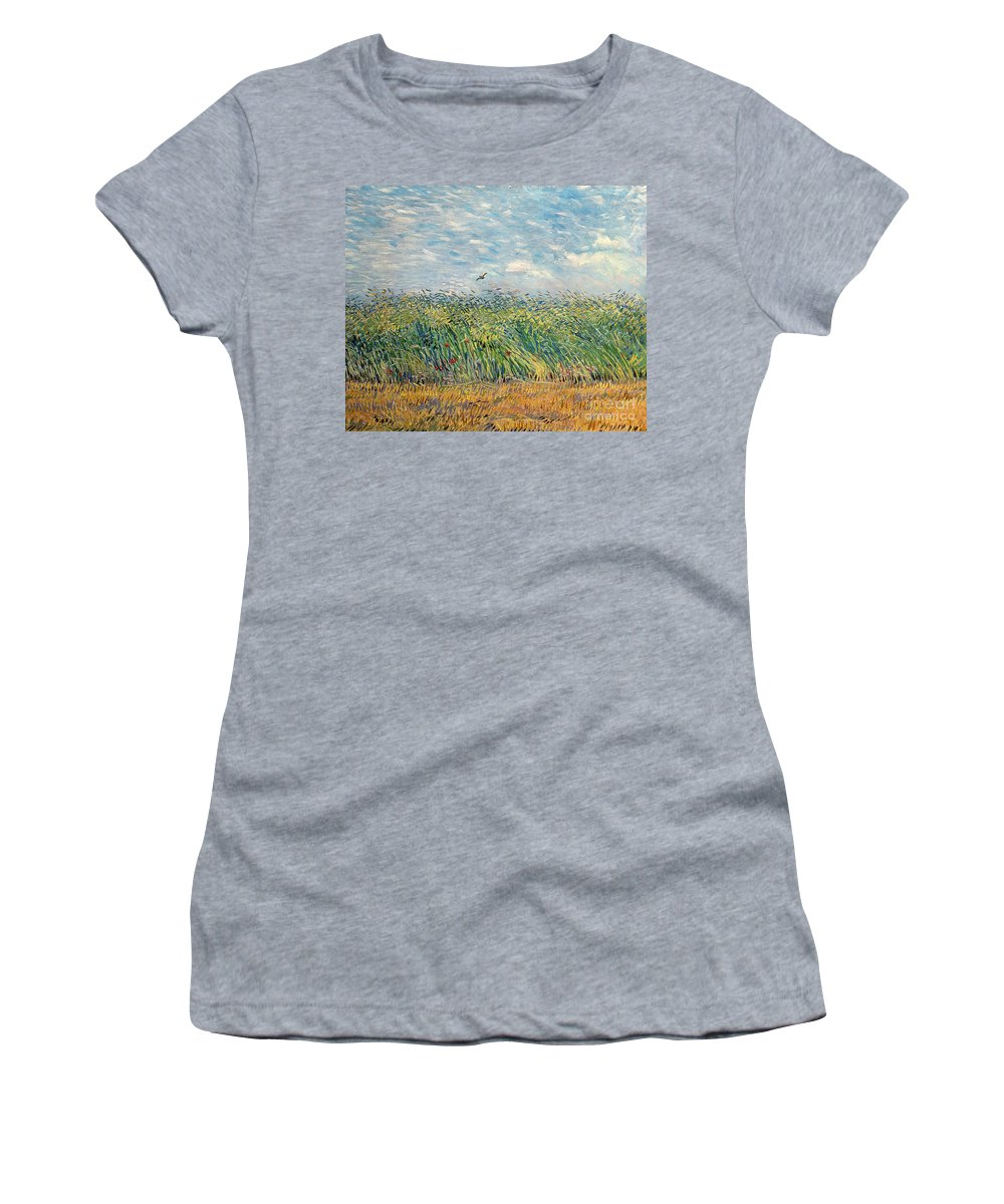 Post-impressionist; Wheat Field; Landscape; Bird; Poppies; Actually A Partridge Women's T-Shirt (Athletic Fit) featuring the painting Wheatfield With Lark by Vincent van Gogh