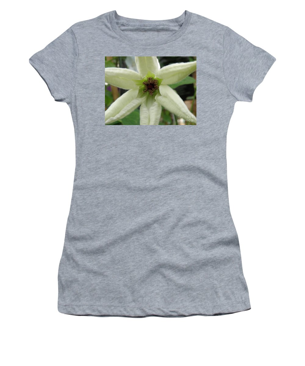 Clematis Women's T-Shirt (Athletic Fit) featuring the photograph White Clematis by Lainie Wrightson