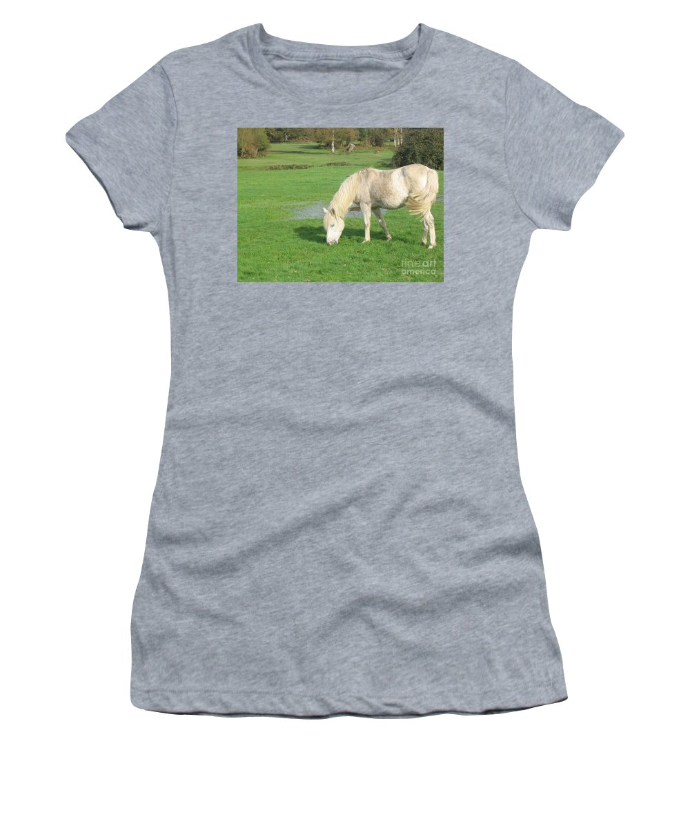 Pony Women's T-Shirt (Athletic Fit) featuring the photograph White Pony On The Moors by DejaVu Designs