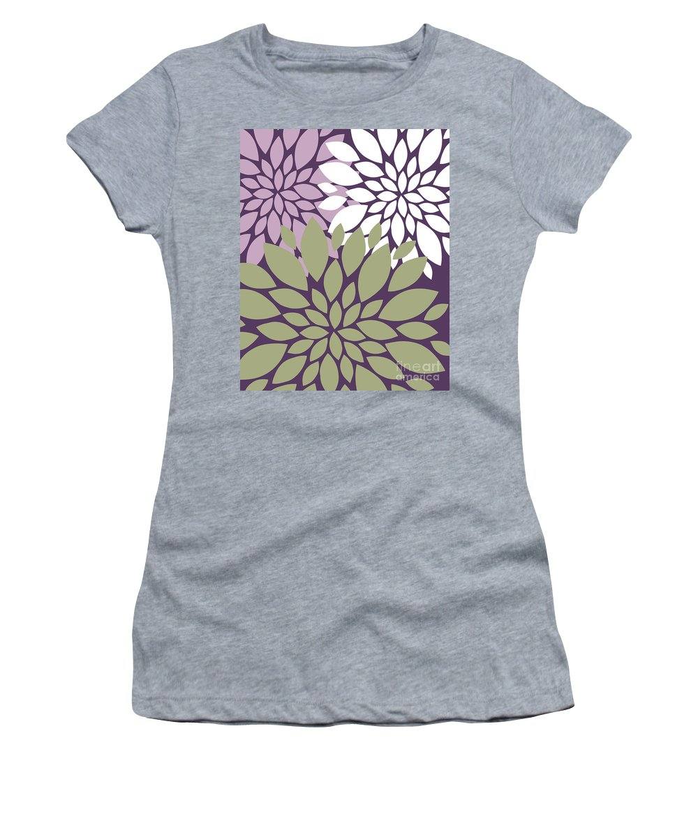 Violet Women's T-Shirt (Athletic Fit) featuring the digital art White Violet Green Peony Flowers by Voros Edit