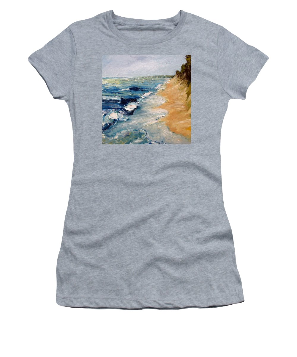 Whitecaps Women's T-Shirt (Athletic Fit) featuring the painting Whitecaps On Lake Michigan 3.0 by Michelle Calkins