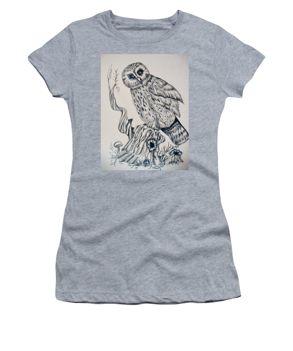 Whooo Are You Women's T-Shirt (Athletic Fit) featuring the drawing Whooo Are You by Maria Urso