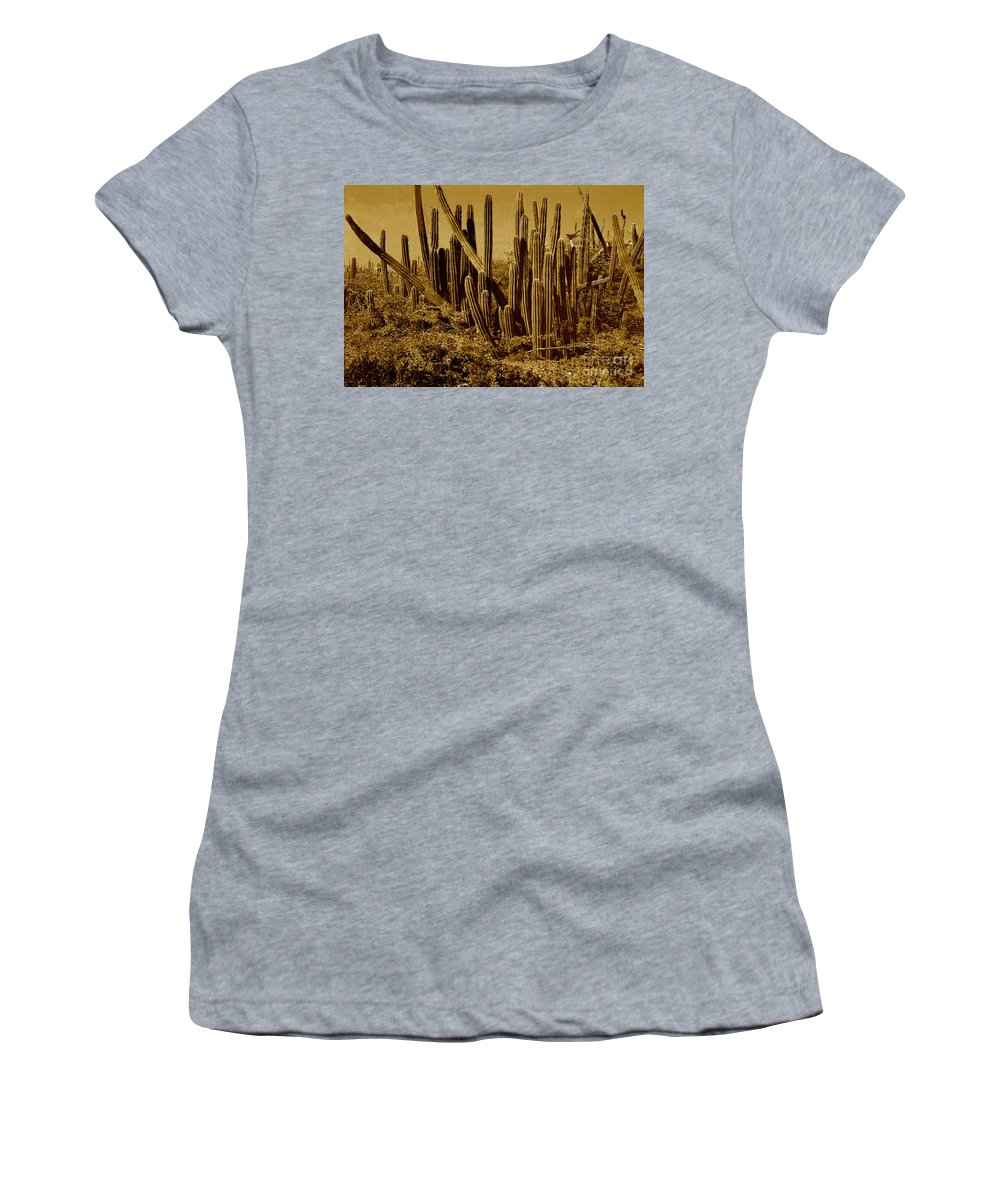 Sepia Women's T-Shirt (Athletic Fit) featuring the photograph Wild West Ivb by Anita Lewis