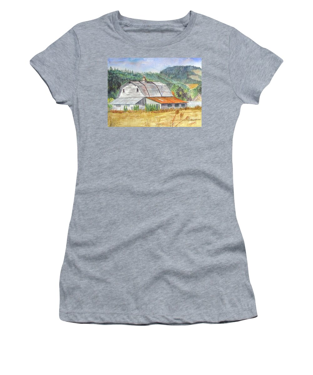 Willamette Valley Women's T-Shirt featuring the painting Willamette Valley Barn by Carol Flagg