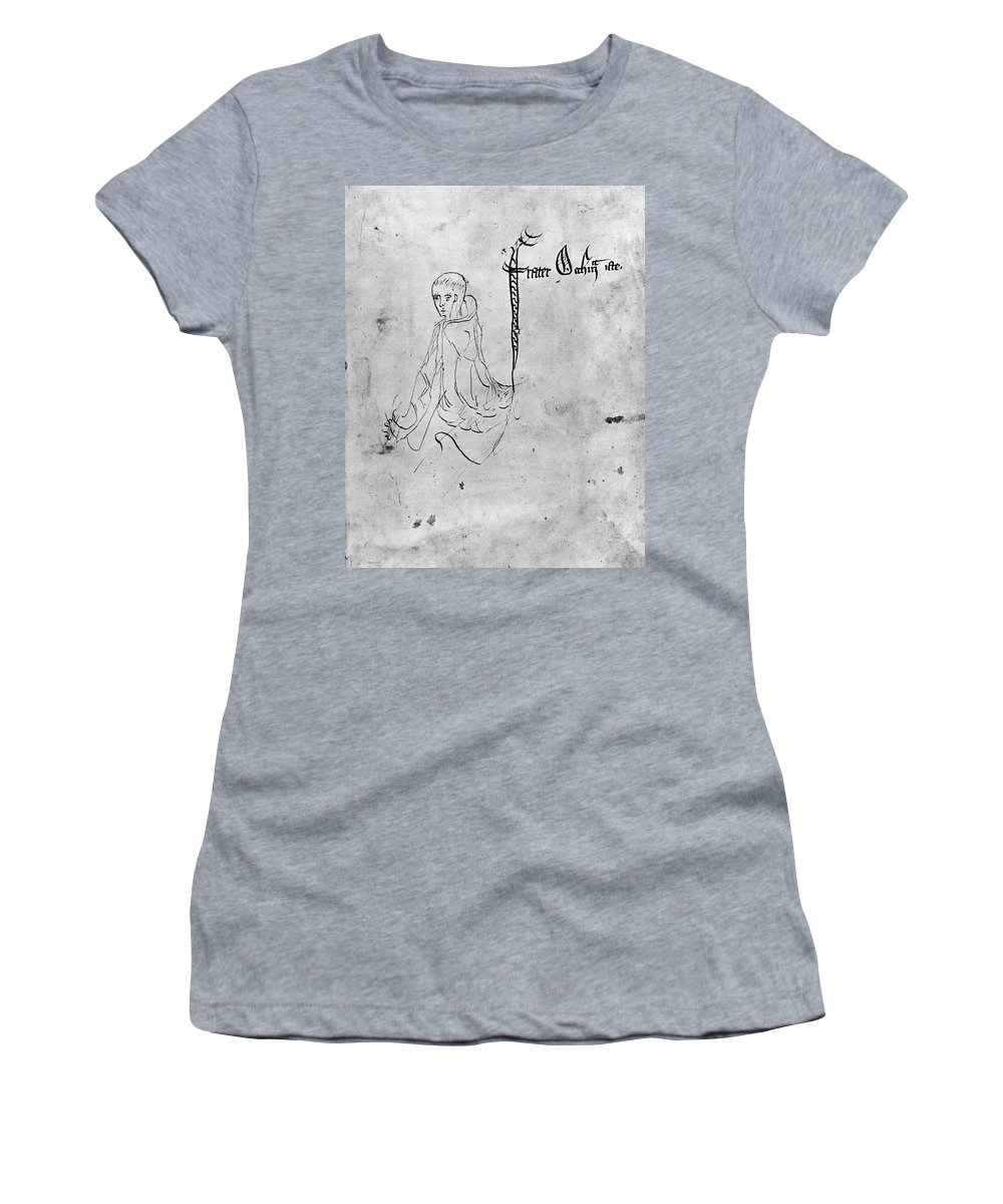 14th Century Women's T-Shirt (Athletic Fit) featuring the painting William Of Ockham (c1285-?1349) by Granger