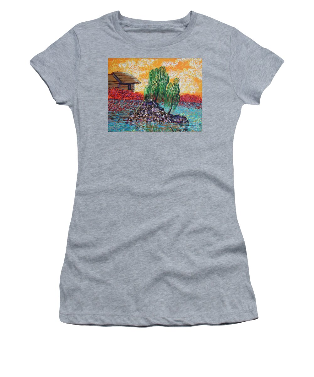 Landscape Women's T-Shirt (Athletic Fit) featuring the painting Willow Tree Isle by Stefan Duncan