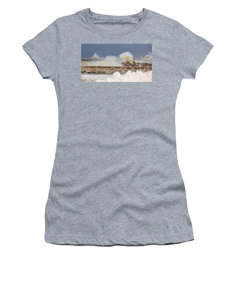 Lighthouse Women's T-Shirt featuring the photograph Wind And Ice by Everet Regal