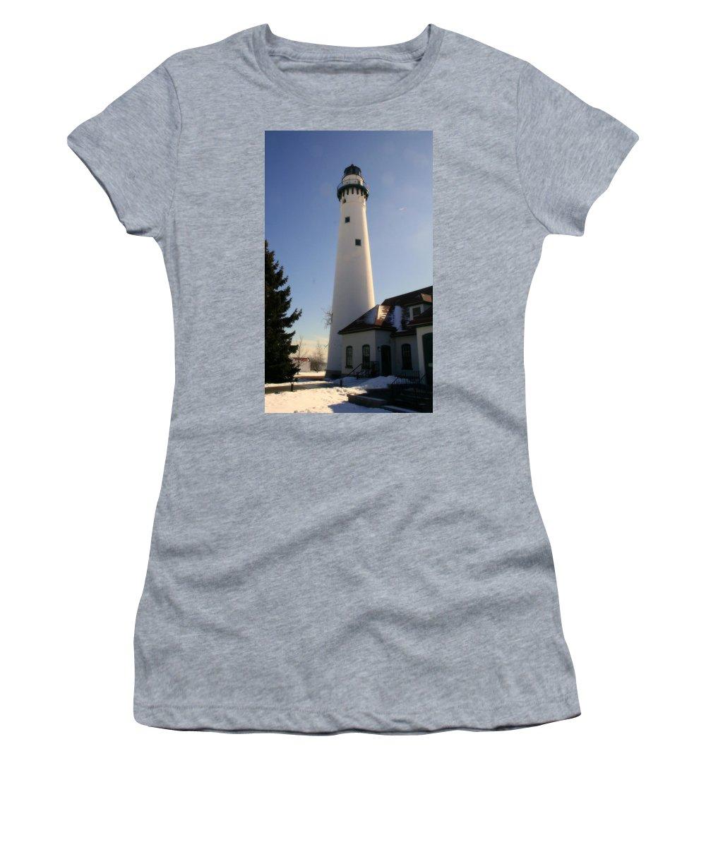 Wind Point Lighthouse Women's T-Shirt featuring the photograph Wind Point Lighthouse by Kay Novy