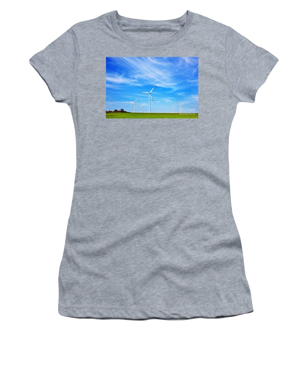 Power Women's T-Shirt featuring the photograph Wind Turbines Farm by Michal Bednarek