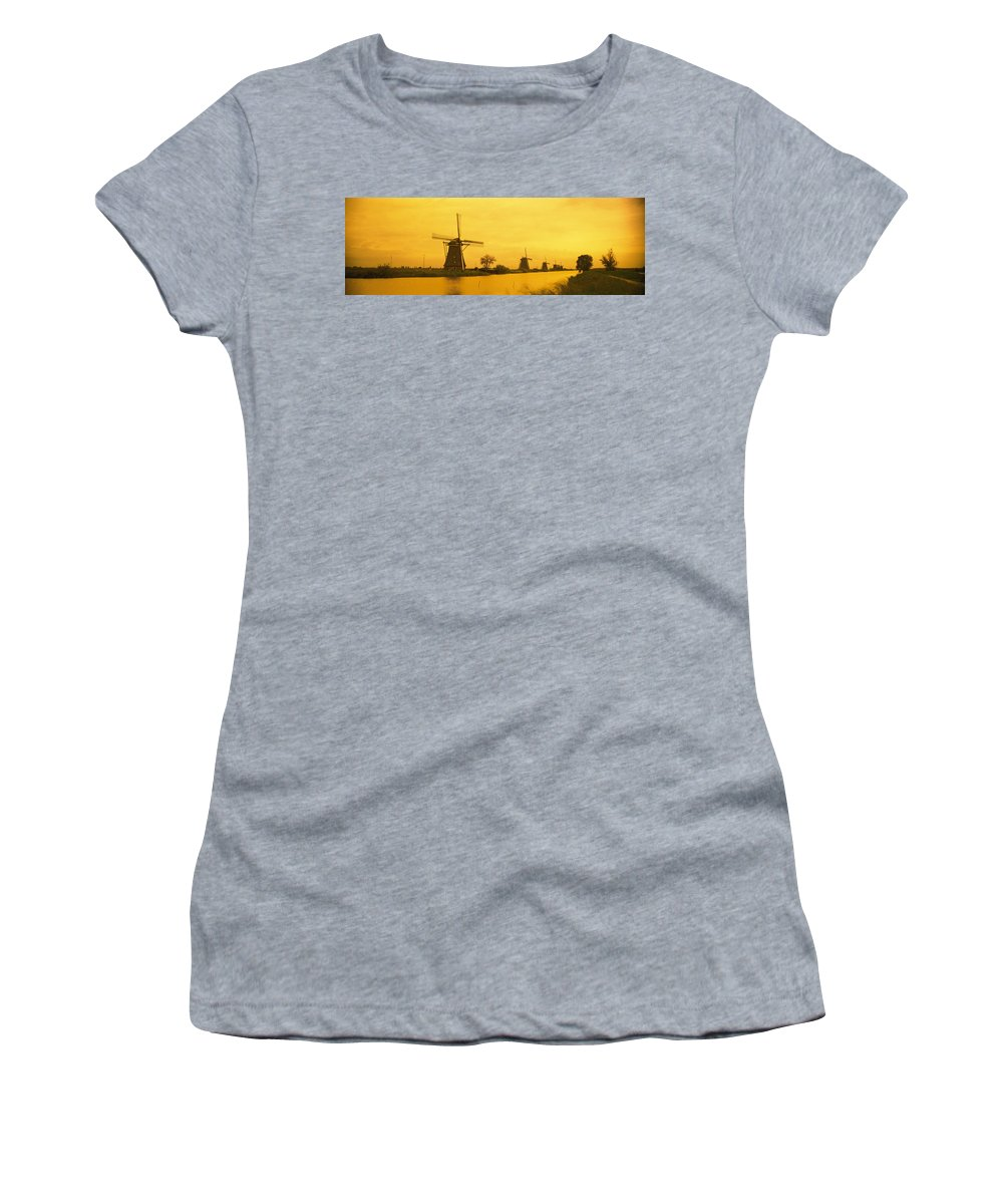 Photography Women's T-Shirt featuring the photograph Windmills Netherlands by Panoramic Images