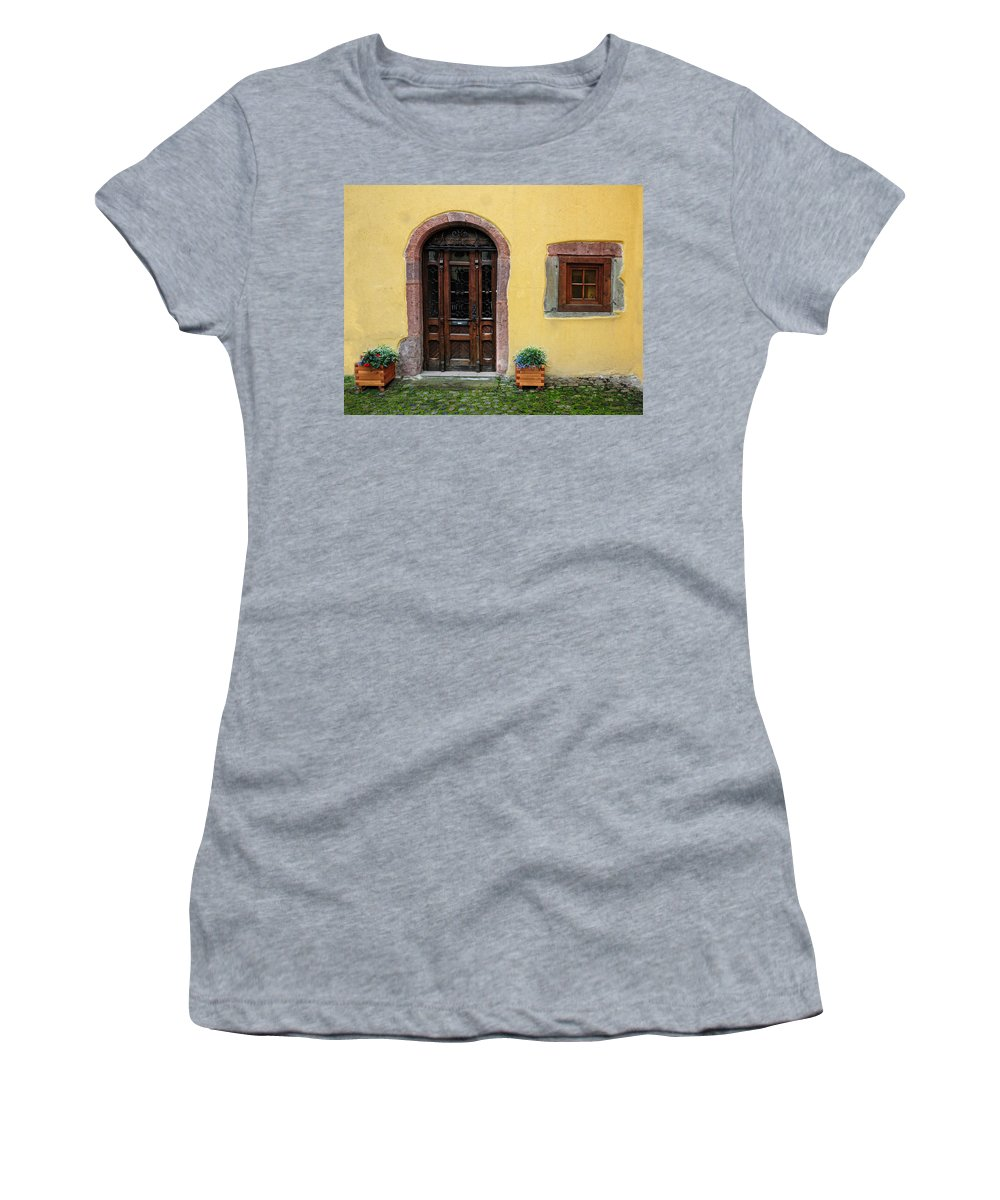 France Women's T-Shirt featuring the photograph Window And Door In Alsace by Dave Mills