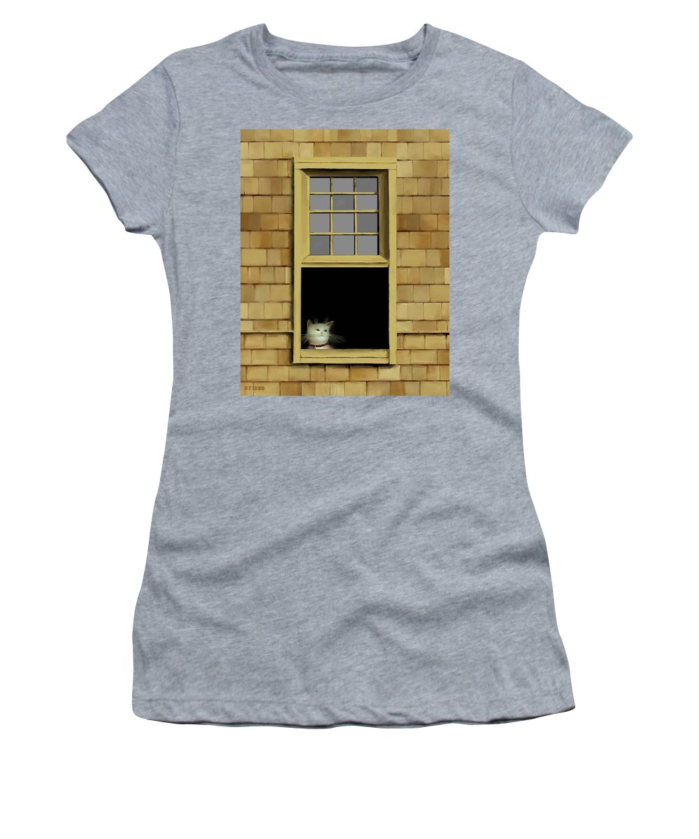 Diane Strain Women's T-Shirt featuring the painting Window Cat  No. 2 by Diane Strain