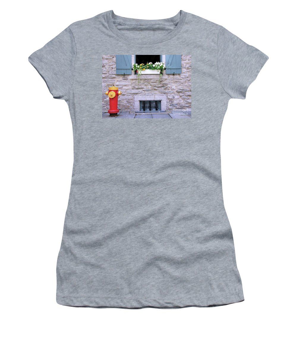 Quebec Flower Box Women's T-Shirt (Athletic Fit) featuring the photograph Window Flower Box 2 by Allen Beatty