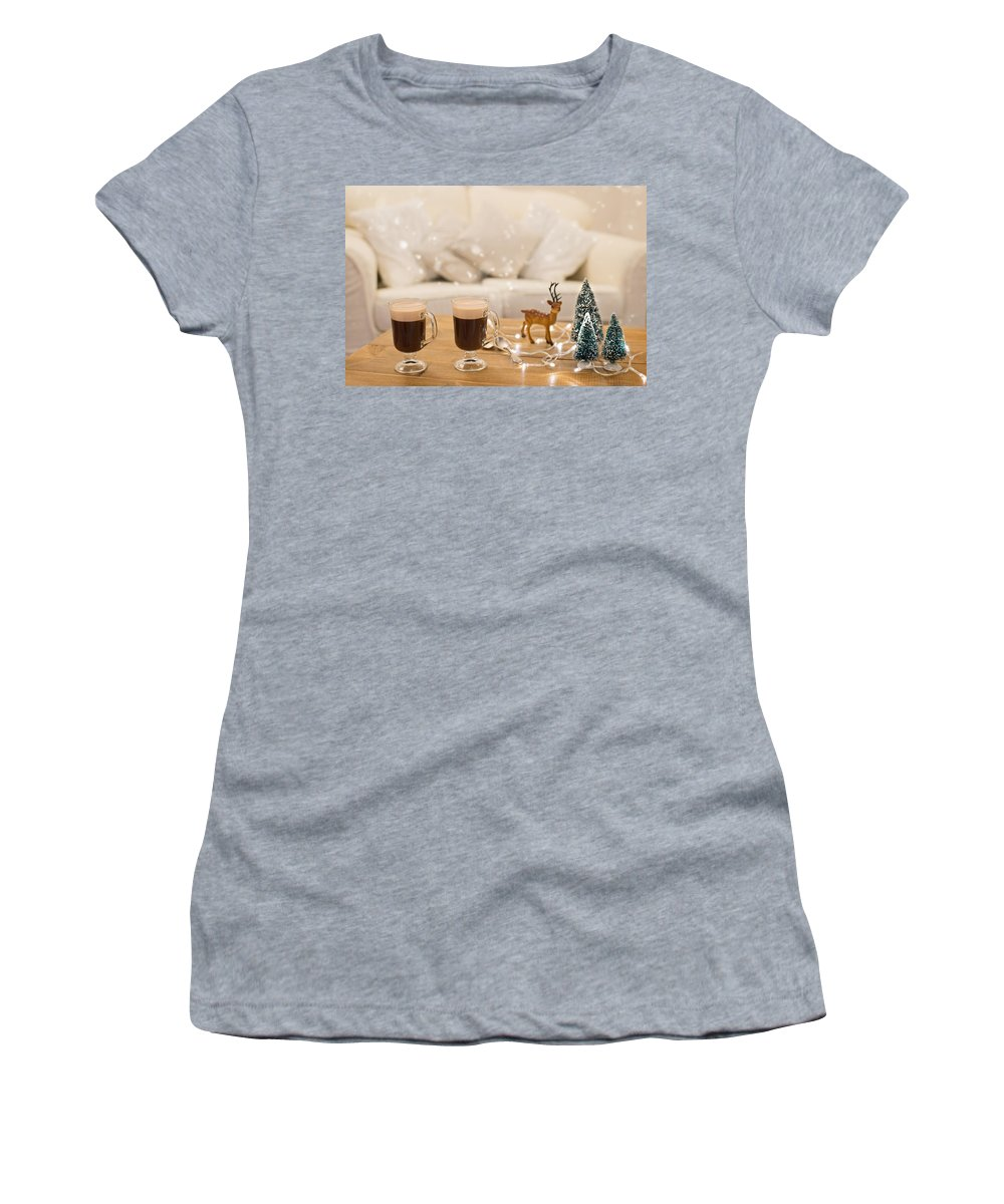 Coffee Women's T-Shirt featuring the photograph Winter Coffee by Amanda Elwell