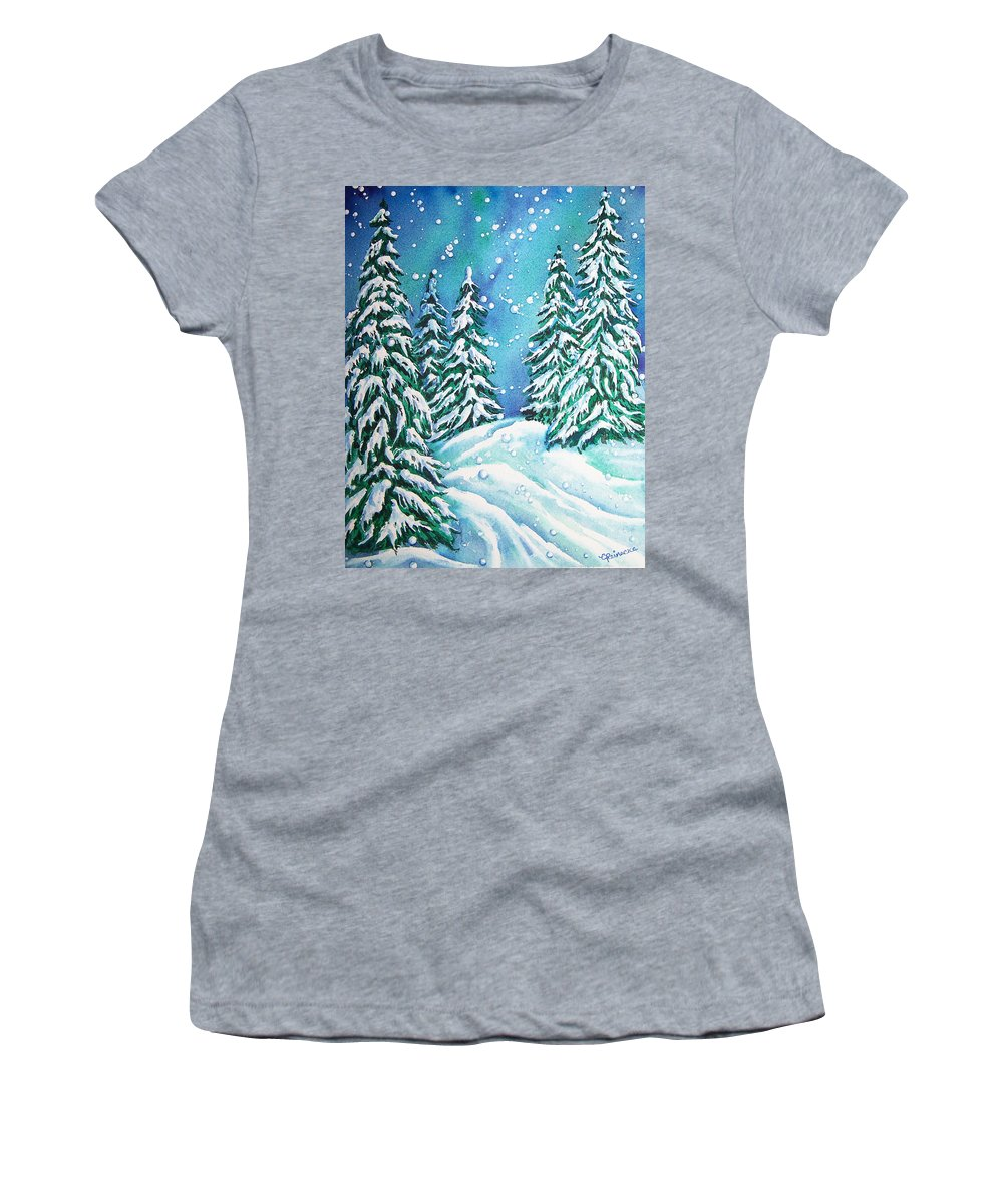 Snow Women's T-Shirt featuring the painting Winter by Conni Reinecke