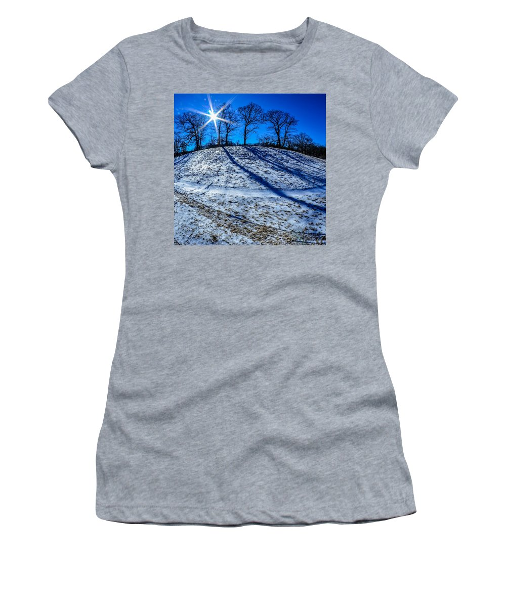 Winter Women's T-Shirt featuring the photograph Winter Scinery In The Mountains With Bllue Sky And Sunshine by Alex Grichenko