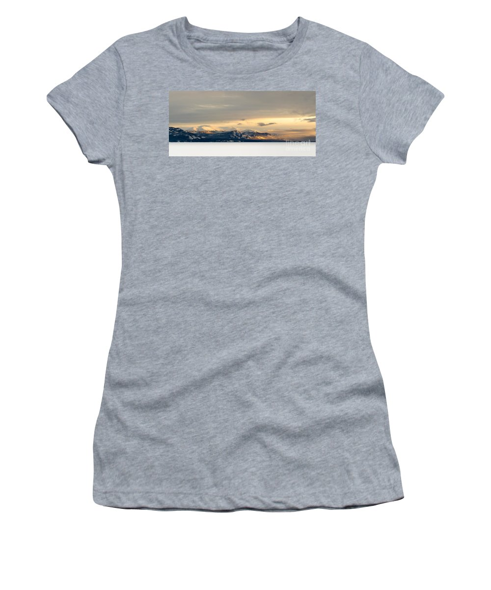 America Women's T-Shirt (Athletic Fit) featuring the photograph Winter Sky Frozen Snowy Lake Laberge Yukon Canada by Stephan Pietzko