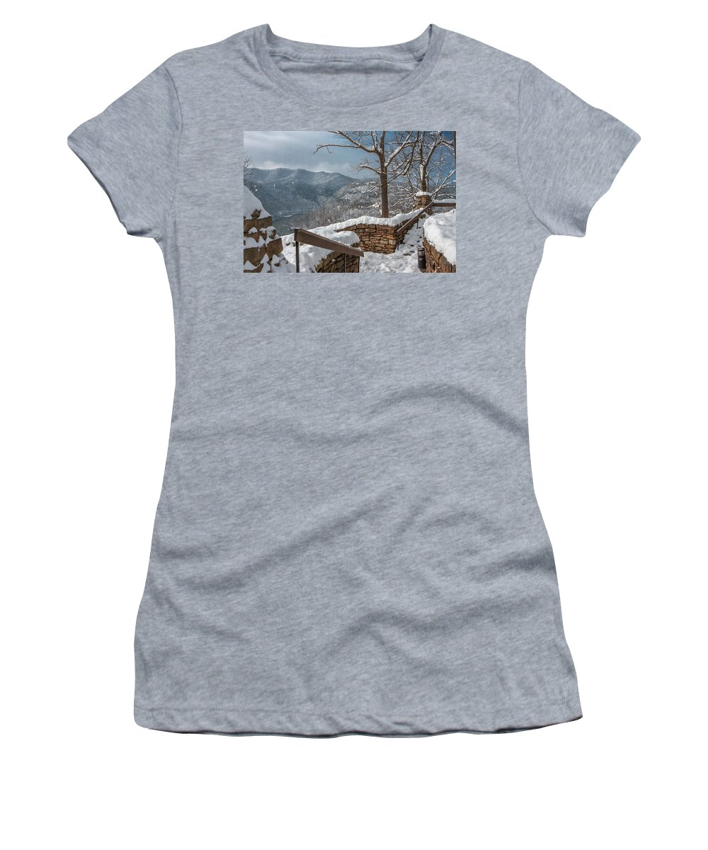 Hawks Nest State Park Women's T-Shirt featuring the photograph Wintertime At Hawks Nest by Mary Almond