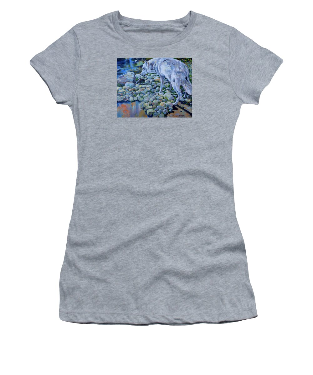 Wolf Women's T-Shirt (Athletic Fit) featuring the painting Wolf Creek by Derrick Higgins