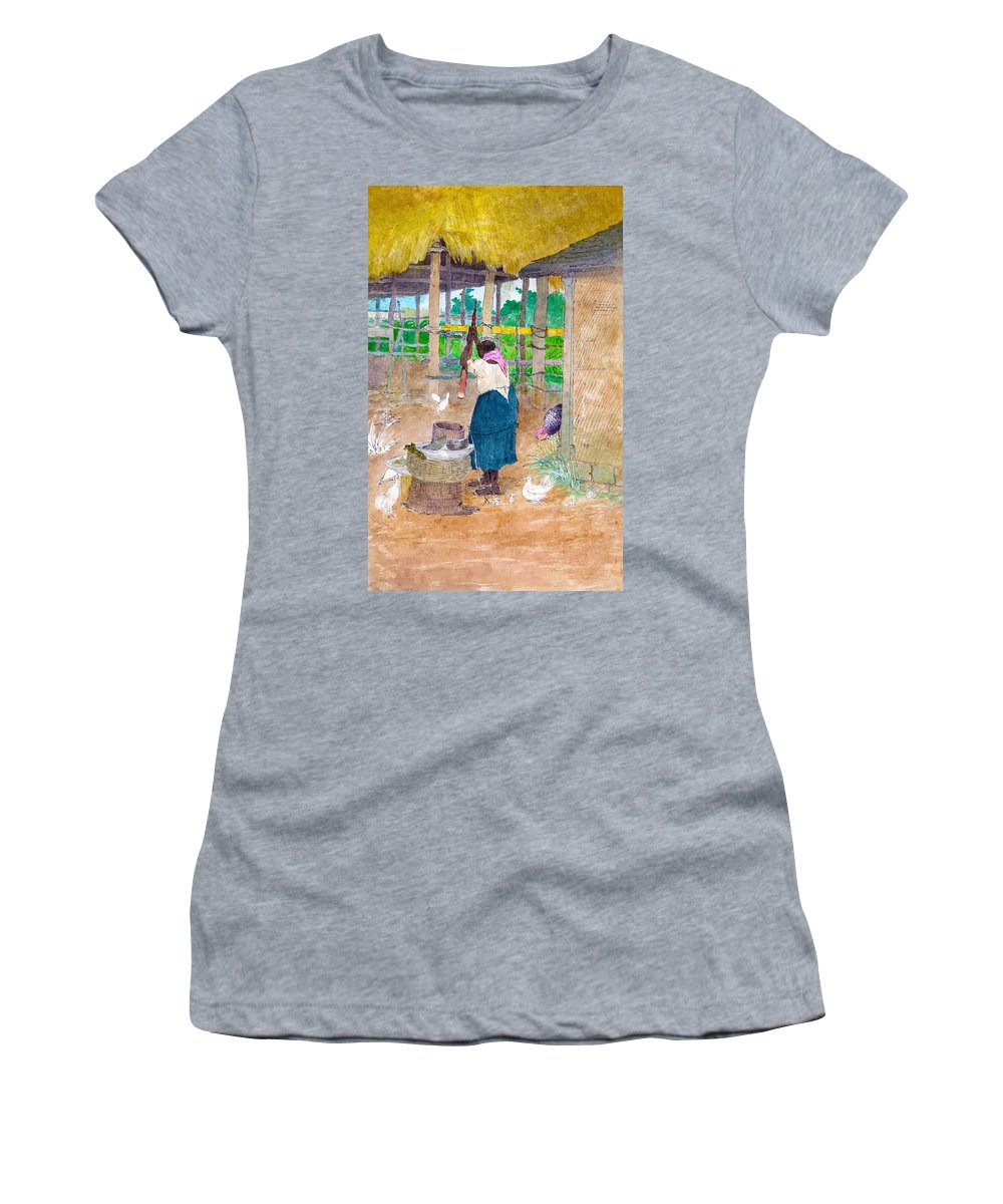 Woman Beating Cassava Jamaica Women's T-Shirt (Athletic Fit) featuring the digital art Woman Beating Cassava Jamaica by William Berryman