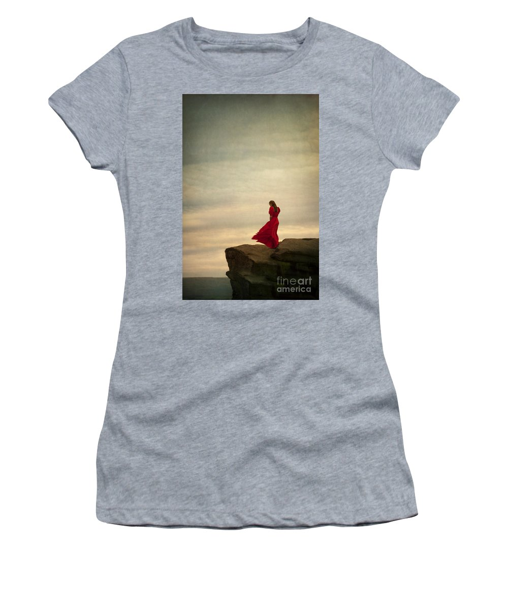 Woman Women's T-Shirt featuring the photograph Woman In A Vintage Red Dress On A Windy Clifftop by Lee Avison
