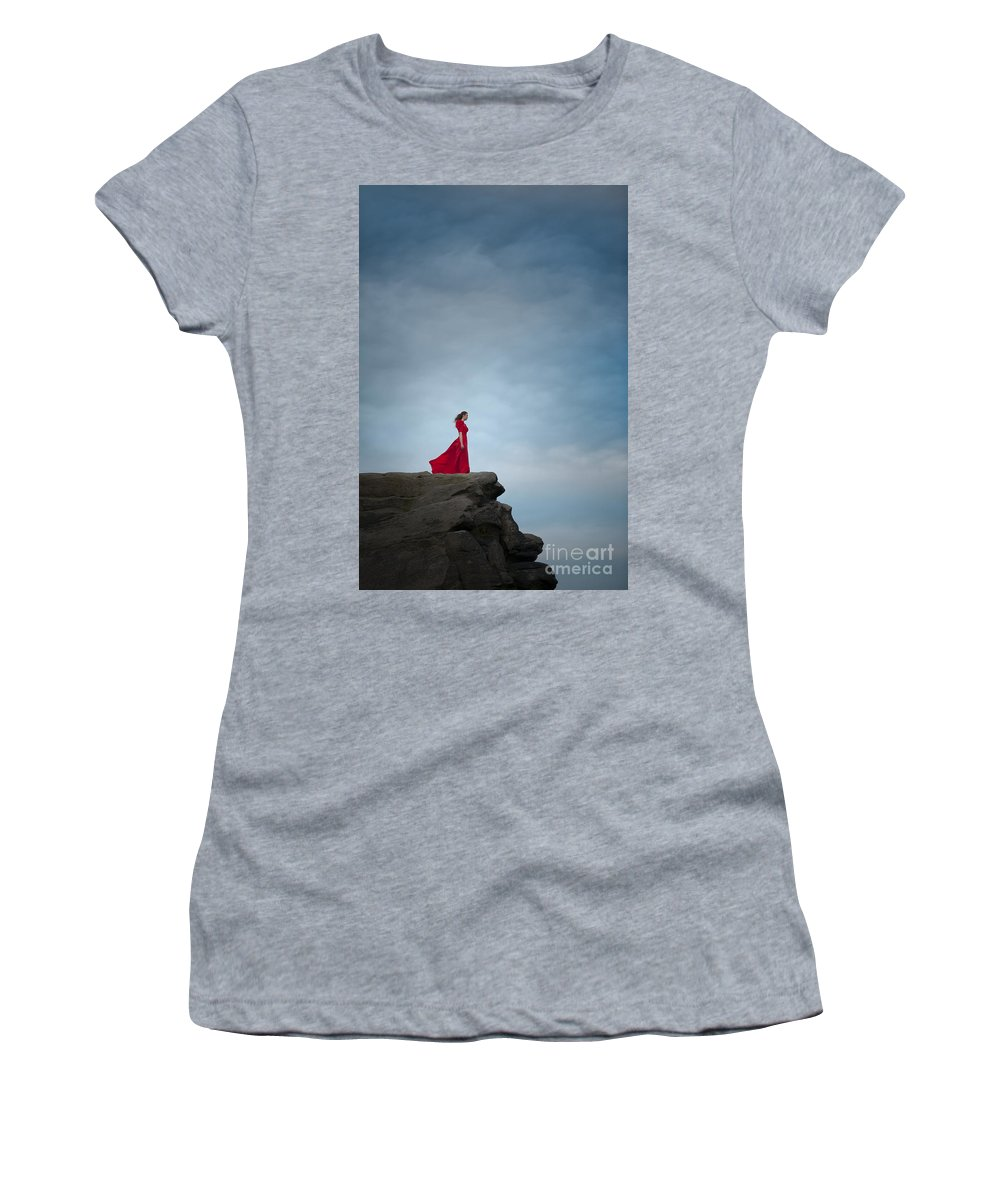 Woman Women's T-Shirt featuring the photograph Woman In Red Dress On A Clifftop by Lee Avison