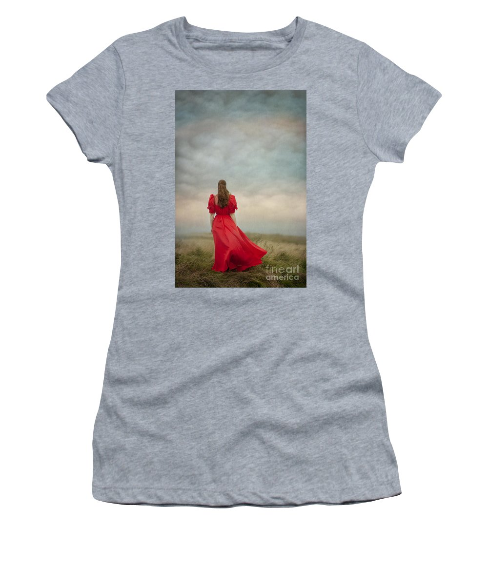 Woman Women's T-Shirt featuring the photograph Woman In Red On Moorland by Lee Avison