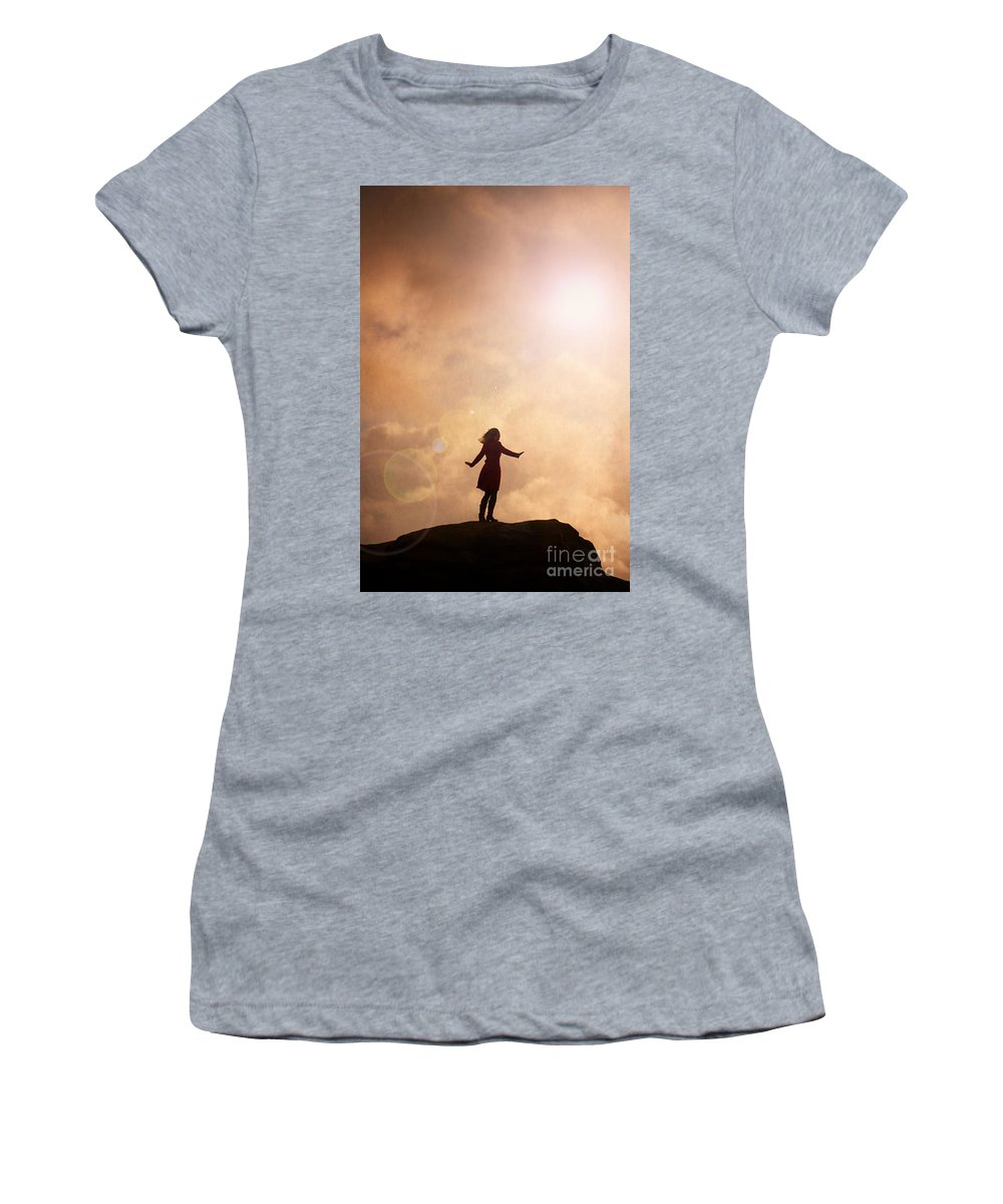 Woman Women's T-Shirt (Athletic Fit) featuring the photograph Woman On A Mountain Summit by Lee Avison