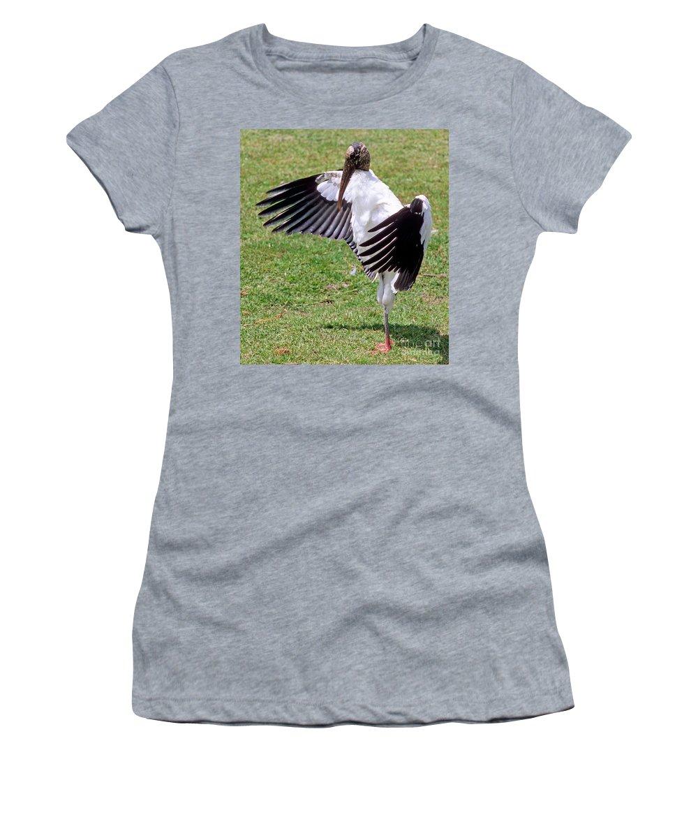 Wood Stork Women's T-Shirt featuring the photograph Wood Stork by Millard H. Sharp