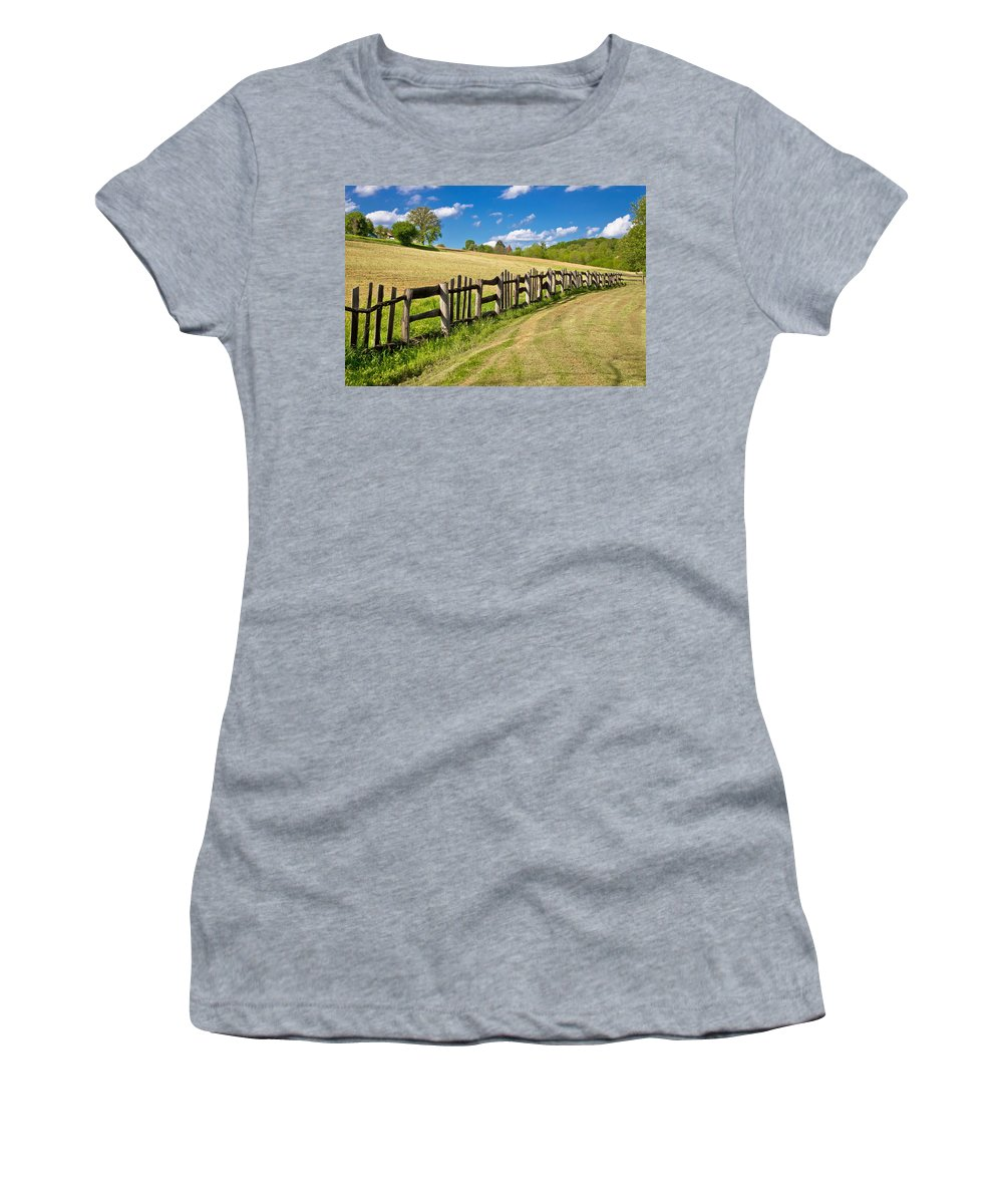 Color Women's T-Shirt featuring the photograph Wooden Fence In Green Landscape by Brch Photography