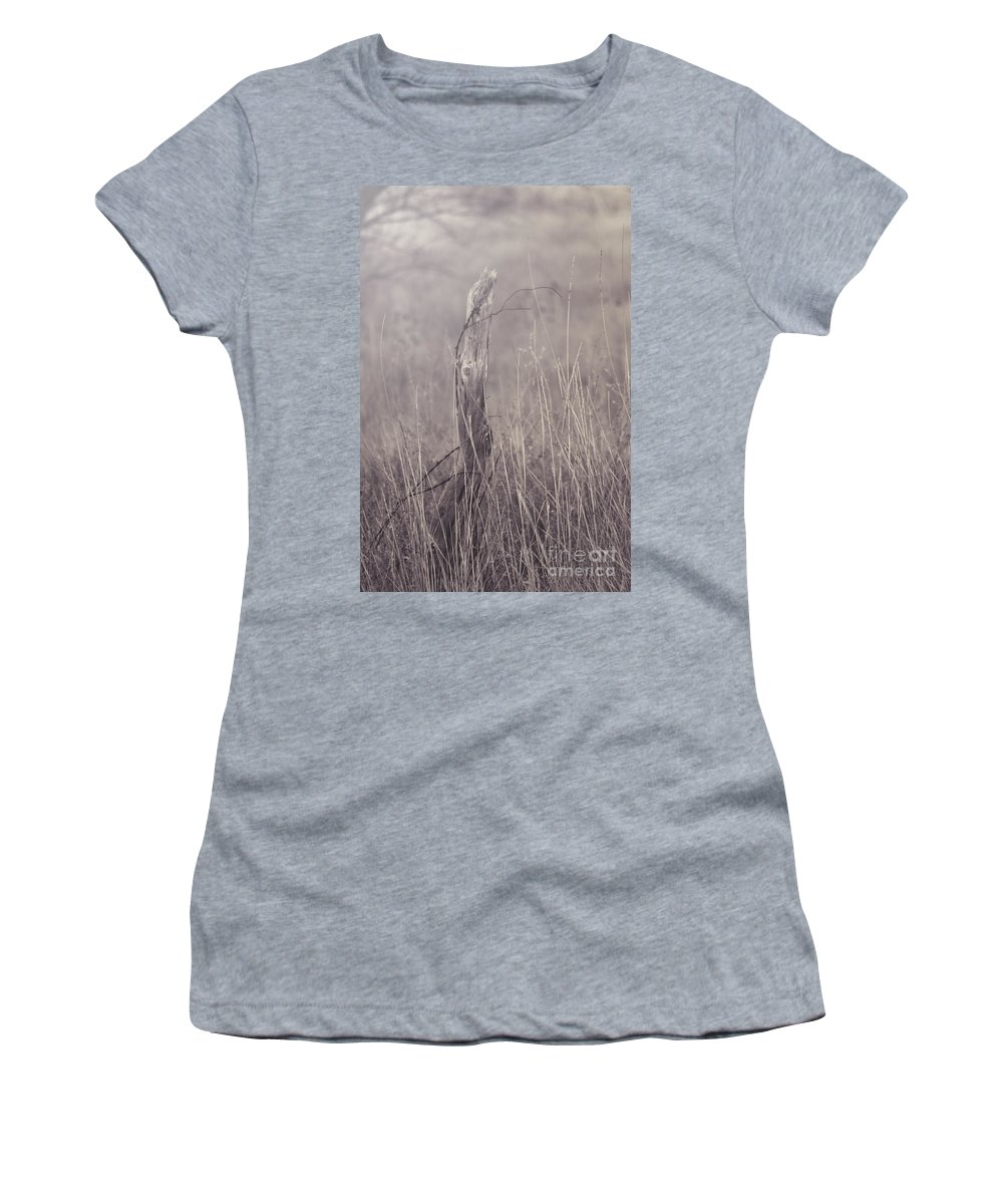 Photography Women's T-Shirt featuring the photograph Wooden Fence Post On A Foggy Winter Day by Jackie Farnsworth
