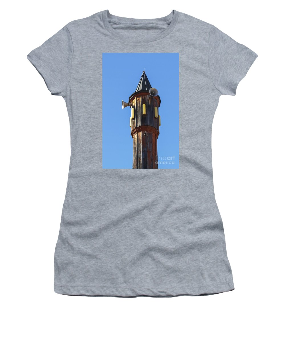 Safranbolu Turkey Mosque Mosques Minaret Minarets City Cities Architecture Place Places Of Worship Odds And Ends Women's T-Shirt featuring the photograph Wooden Minaret by Bob Phillips