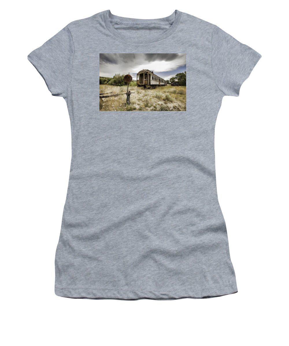 Train Women's T-Shirt featuring the photograph Wooden Train - Final Resting Place by Fran Riley