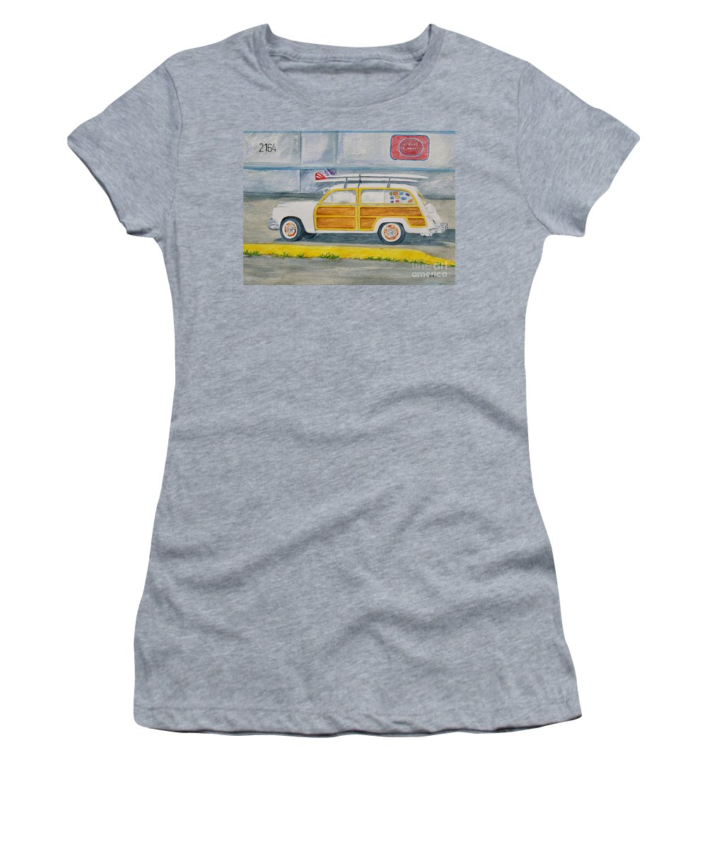 Woody Paintings Women's T-Shirt (Athletic Fit) featuring the painting Woody by Regan J Smith