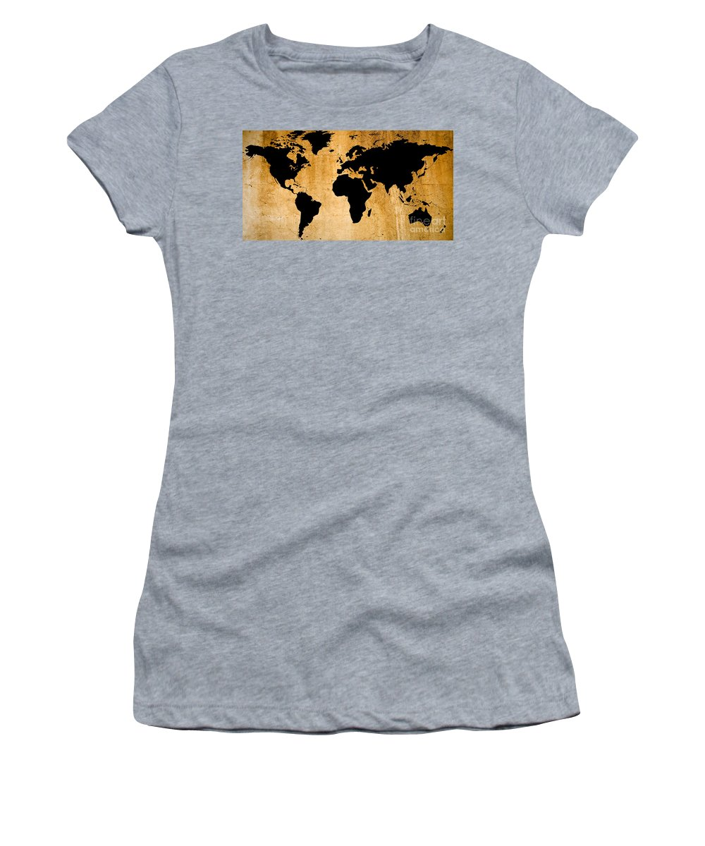 World Map Women's T-Shirt (Athletic Fit) featuring the painting World Map by Roz Abellera