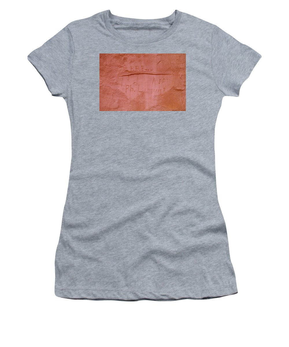 Writing Women's T-Shirt (Athletic Fit) featuring the photograph Writing In The Desert by Jeff Swan