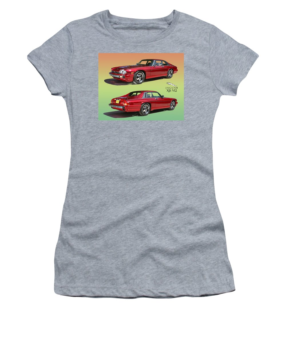 Acrylic Prints Of 1986 Jaguar X J S V 12 Women's T-Shirt (Athletic Fit) featuring the photograph 1986 X J S Jaguar Coming And Goingf by Jack Pumphrey