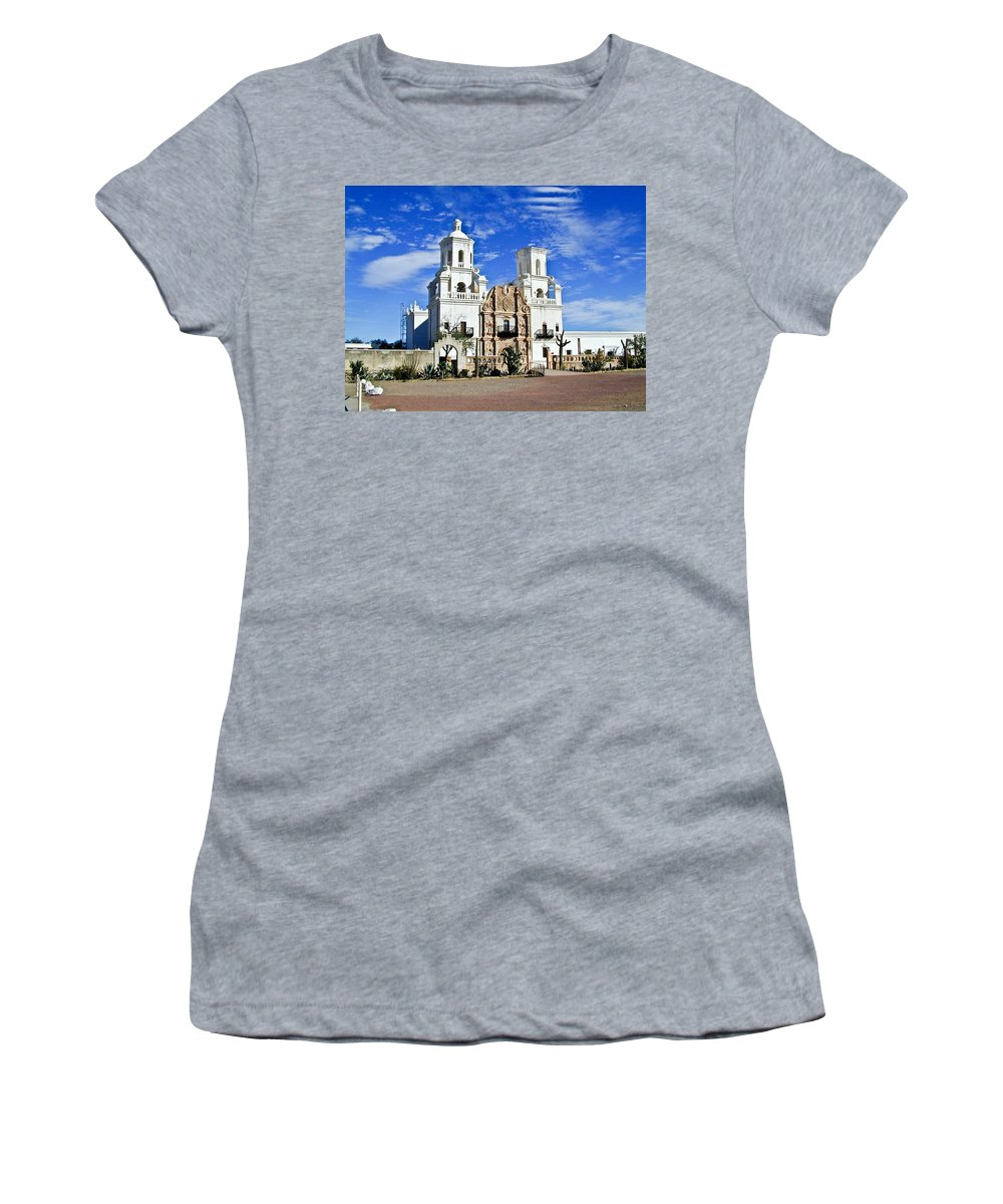 Mission San Xavier Del Bac Women's T-Shirt (Athletic Fit) featuring the photograph Xavier Tucson Arizona by Douglas Barnett