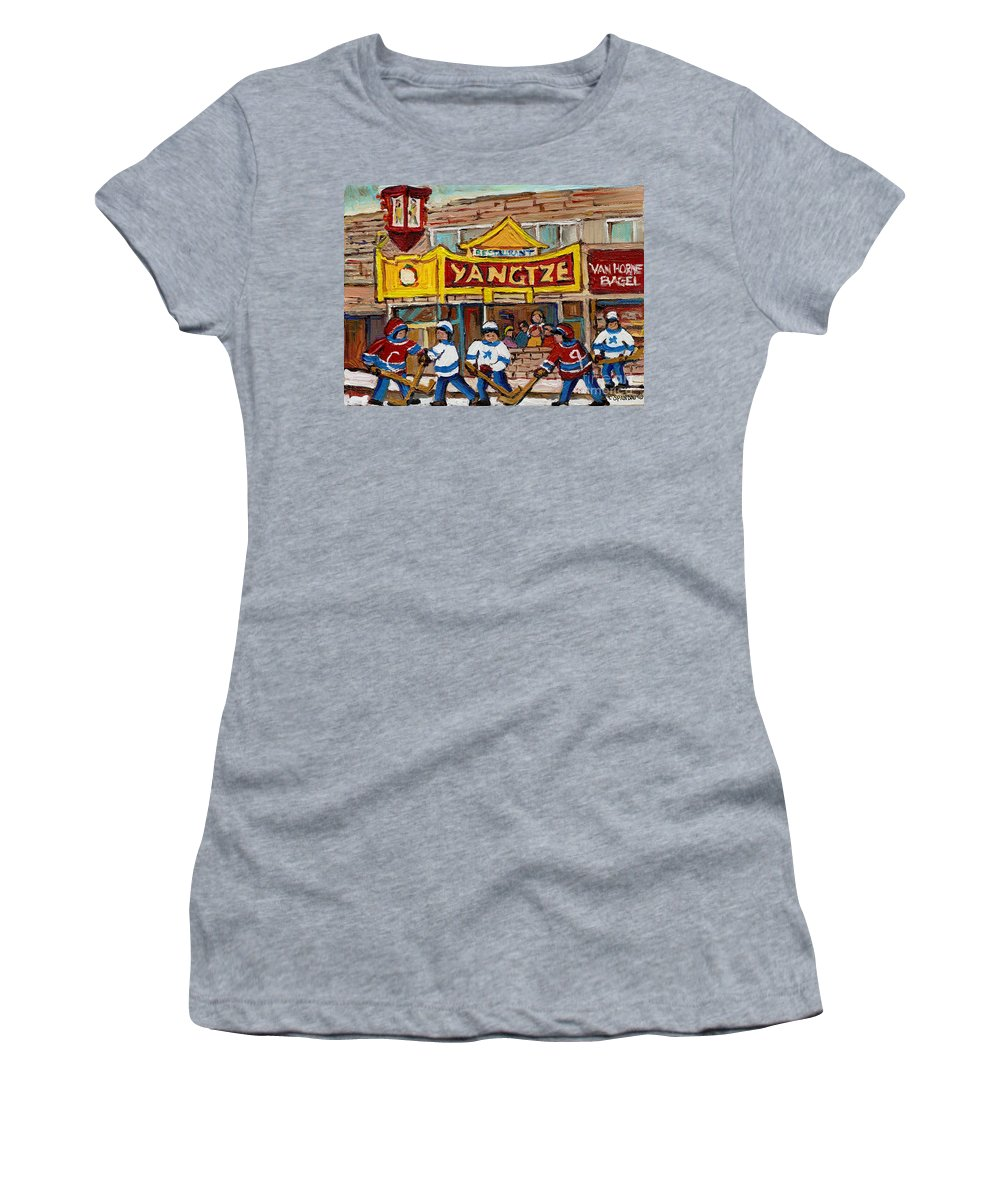 Montreal Women's T-Shirt (Athletic Fit) featuring the painting Yangtze Restaurant With Van Horne Bagel And Hockey by Carole Spandau