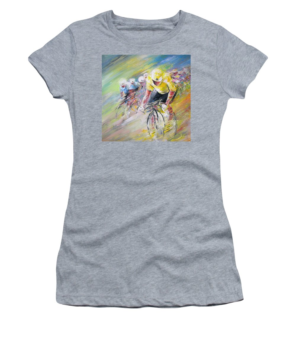 Sports Women's T-Shirt (Athletic Fit) featuring the painting Yellow Triumph by Miki De Goodaboom
