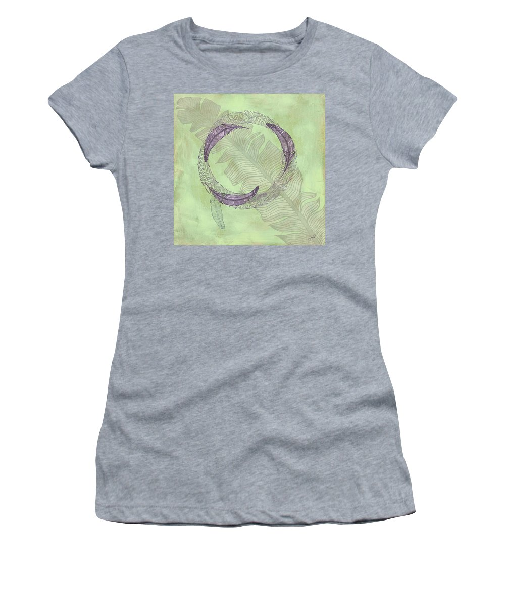 Popular Women's T-Shirt featuring the digital art Zen Feather Circle I V by Paulette B Wright