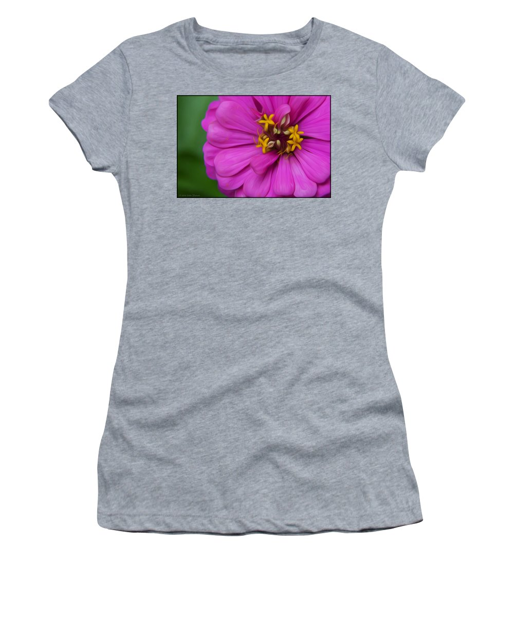 Zinnia Women's T-Shirt featuring the photograph Zinnia by Erika Fawcett