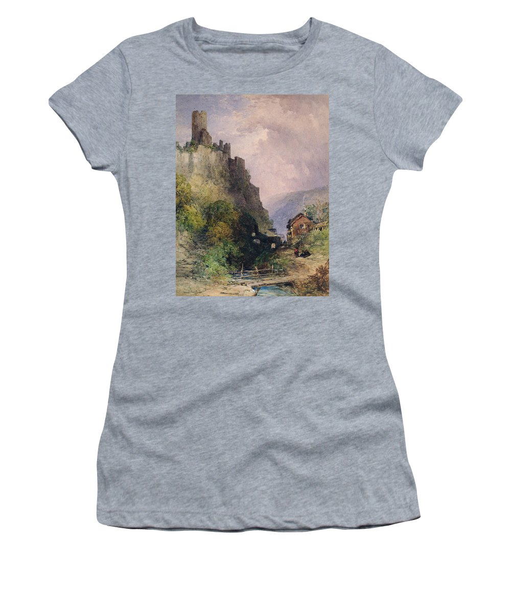 The Castle Of Katz On The Rhine Women's T-Shirt featuring the painting The Castle Of Katz On The Rhine by William Callow