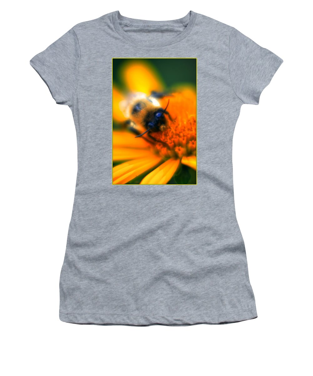Women's T-Shirt featuring the photograph 007 Sleeping Bee Series Now Awake  Ovo by Michael Frank Jr