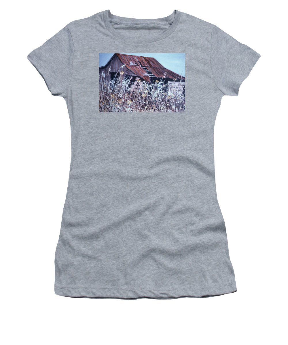 Rustic Women's T-Shirt featuring the painting Barn in Sunlight by Ben Kiger
