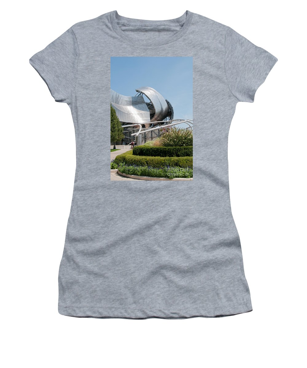 Artistic Sculpture Women's T-Shirt (Athletic Fit) featuring the photograph Chicago City Scenes by Carol Ailles