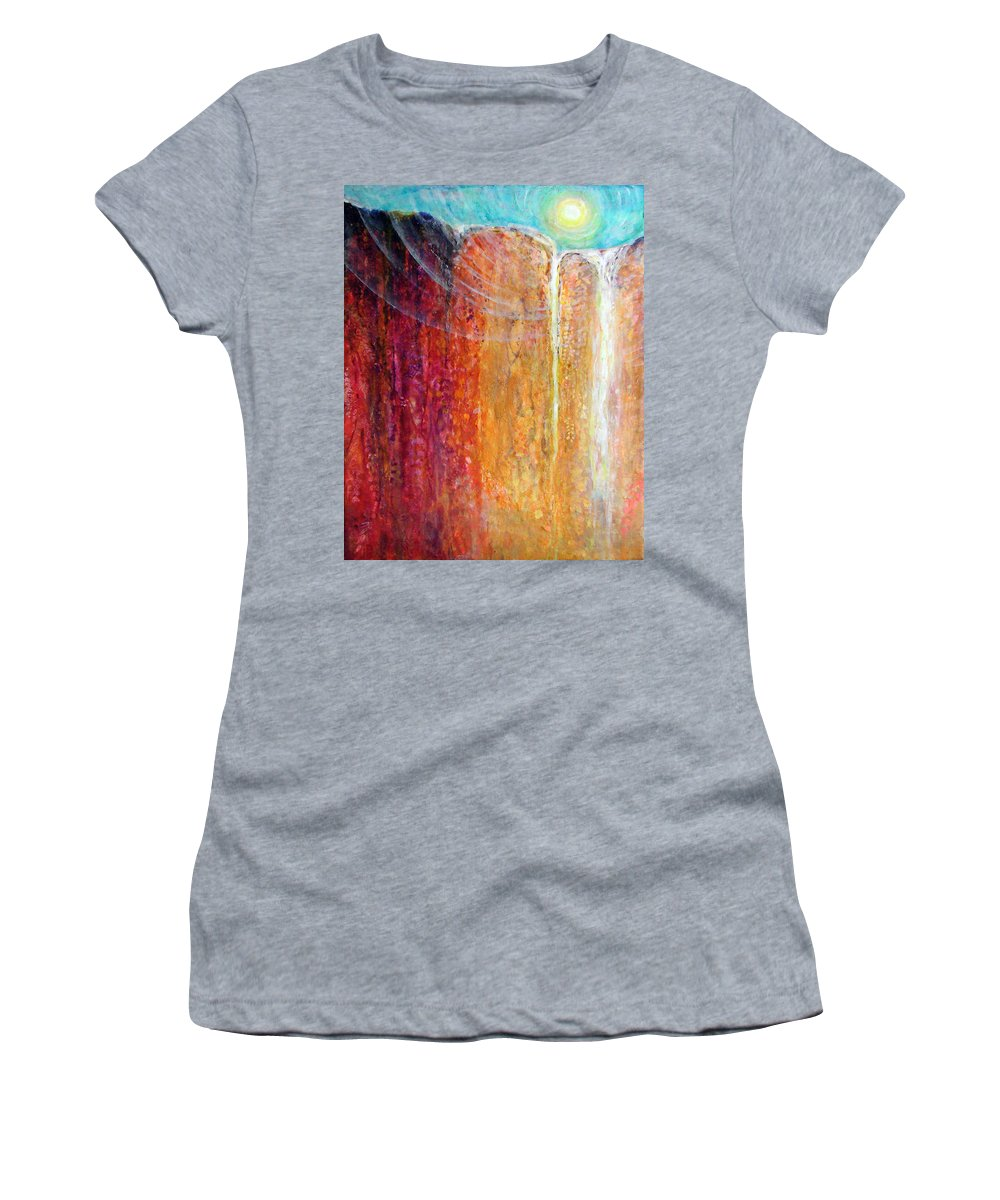 Waterfall Women's T-Shirt (Athletic Fit) featuring the painting Matter by Ashleigh Dyan Bayer
