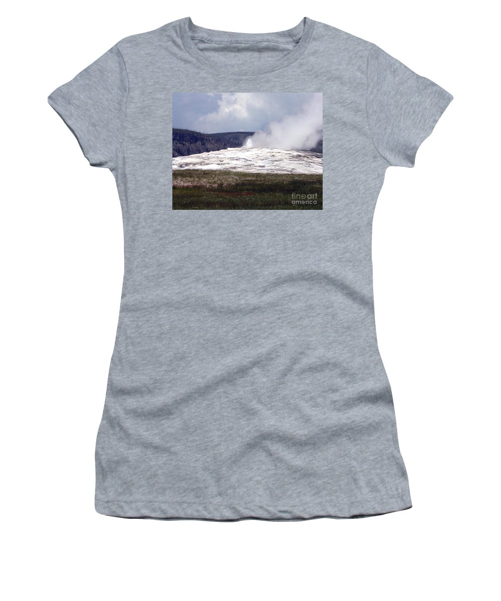 Old Faithful Women's T-Shirt (Athletic Fit) featuring the photograph Old Faithful by Living Color Photography Lorraine Lynch