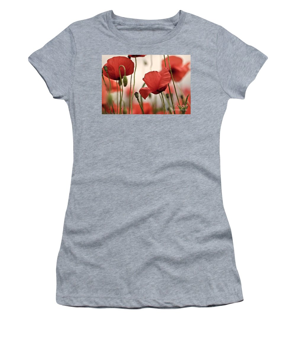 Poppy Women's T-Shirt (Athletic Fit) featuring the photograph Poppy Flowers 04 by Nailia Schwarz